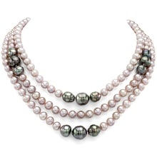 NECKLACE OF FRESHWATER AND TAHITIAN PEARLS - PEARL NECKLACE - PEARLS