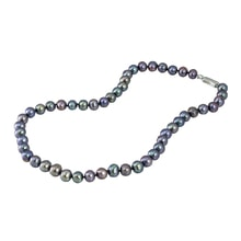 DARK PEARL NECKALACE, SILVER - PEARL NECKLACE - PEARLS
