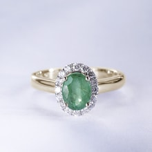 GOLDEN RING WITH EMERALD AND DIAMONDS - GOLD RINGS - RINGS