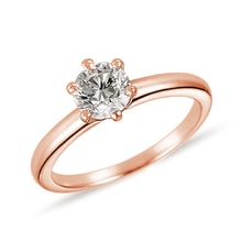Gold engagement ring with a diamond - Solitaire Engagement Rings