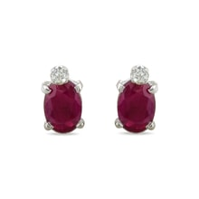 Ruby and diamond 14kt gold earrings - Ruby Earrings