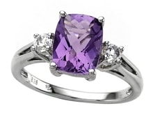SILVER RING WITH AMETHYST AND WHITE TOPAZ - AMETHYST RINGS - RINGS