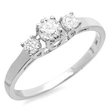DIAMOND ENGAGEMENT RING IN WHITE GOLD - ENGAGEMENT RINGS WITH GEMSTONES