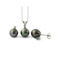 Tahitian pearl and diamond set in silver - Pearl Sets