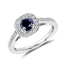 SAPPHIRE RING WITH DIAMONDS - HALO ENGAGEMENT RINGS - ENGAGEMENT RINGS