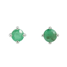SILVER EARRINGS WITH EMERALD - EMERALD EARRINGS - EARRINGS