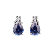 Gold earrings with diamonds and tanzanite - Earrings with tanzanite