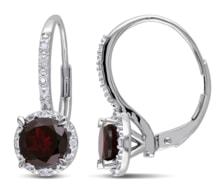 SILVER EARRINGS GARNET AND DIAMONDS - JEWELLERY SALE