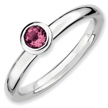 SILVER RING WITH PINK TOURMALINE - ENGAGEMENT RINGS WITH GEMSTONES