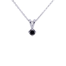 STERLING SILVER PENDANT WITH BLACK DIAMOND - DIAMOND PENDANTS - PENDANTS