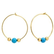 GOLD EARRINGS WITH TURQUOISE - TURQUOISE EARRINGS - EARRINGS
