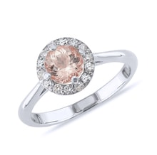 Ring made of white gold with diamonds and morganite - Engagement Halo Rings