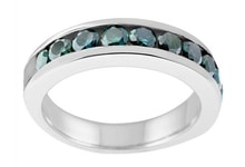 WEDDING RING MADE OF WHITE GOLD WITH BLUE DIAMONDS - DIAMOND RINGS - RINGS