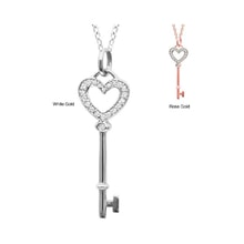 Pendant key in white gold with diamonds - Diamond pendants