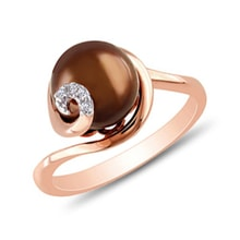 Pearl and diamond ring in rose gold - Pearl Rings