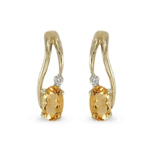 Gold citrine earrings with diamonds - Yellow Gold Earrings