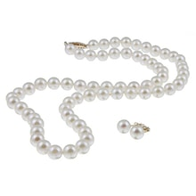 PEARL NECKLACE WITH EARRINGS, 14K GOLD - AKOYA CULTURED PEARLS - PEARLS