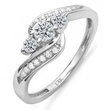 ENGAGEMENT RING WITH MANY DIAMONDS IN WHITE GOLD - DIAMOND ENGAGEMENT RINGS - ENGAGEMENT RINGS WITH GEMSTONES