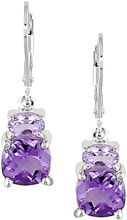 SILVER EARRINGS WITH AMETHYST AND ROSE DE FRANCE - AMETHYST EARRINGS - EARRINGS