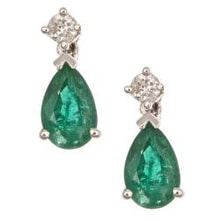 EMERALD EARRINGS WITH DIAMOND - EMERALD EARRINGS - EARRINGS