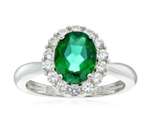 RING SYNTHETIC EMERALD - JEWELLERY BY GEMSTONE