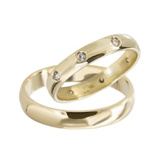 GOLD WEDDING RING WITH DIAMONDS - GOLD WEDDING RINGS - WEDDING RINGS