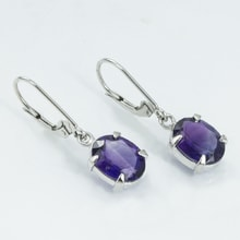 14K GOLD EARRINGS WITH AMETHYST - AMETHYST EARRINGS - EARRINGS