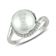 Ring made of sterling silver with pearl and diamonds - Pearl rings