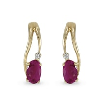 GOLD RUBY ​​EARRINGS WITH DIAMONDS - GOLD EARRINGS - EARRINGS