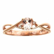 MORGANIT RING WITH DIAMONDS, ROSE GOLD - ENGAGEMENT RINGS WITH GEMSTONES