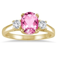 GOLD RING WITH PINK TOPAZ AND DIAMONDS - ENGAGEMENT RINGS WITH GEMSTONES