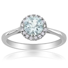 RADIANT SILVER RING WITH AQUAMARINE AND DIAMONDS - HALO ENGAGEMENT RINGS - ENGAGEMENT RINGS WITH GEMSTONES