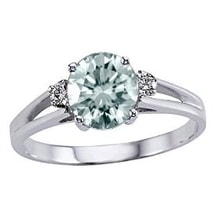 RING IN WHITE GOLD WITH AQUAMARINE - ENGAGEMENT RINGS WITH GEMSTONES