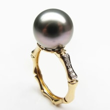 Tahitian pearl and diamond ring in 14kt gold - Pearl Rings