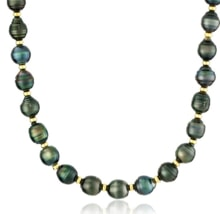 TAHITIAN PEARLS NECKLACE WITH SILVER BEADS - TAHITIAN PEARLS - PEARLS