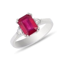 Ruby and diamond ring in white gold - White Gold Rings