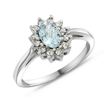 AQUAMARINE RING WITH DIAMONDS IN WHITE GOLD - HALO ENGAGEMENT RINGS - ENGAGEMENT RINGS