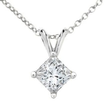 PENDANT WITH PRINCESS DIAMOND - DIAMOND PENDANTS - PENDANTS
