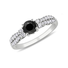 Black and white diamond ring in 14kt gold - Diamond Rings