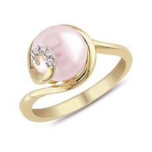 Pink pearl and diamond ring in 14kt gold - Pearl Rings