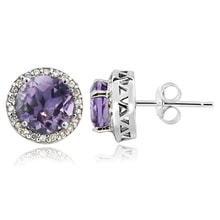 SILVER STUDS EARRINGS WITH AMETHYST AND DIAMONDS - AMETHYST EARRINGS - EARRINGS