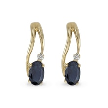 GOLD SAPPHIRE EARRINGS WITH DIAMONDS - GOLD EARRINGS - EARRINGS