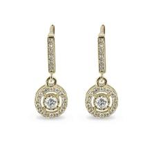 Diamond earrings in 14kt gold - Yellow Gold Earrings