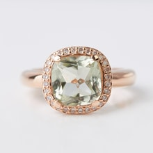 RING WITH GREEN AMETHYST - AMETHYST RINGS - RINGS