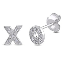 DIAMOND EARRINGS X AND O OF SILVER - DIAMOND EARRINGS - EARRINGS