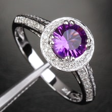 Gold Ring with Amethysts and Diamonds - Halo engagement rings