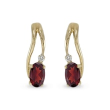 GOLD GARNET EARRINGS WITH DIAMONDS - GOLD EARRINGS - EARRINGS