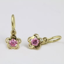 CHILDREN'S GOLD EARRINGS WITH PINK CZ STONES - JEWELLERY BY KLENOTA
