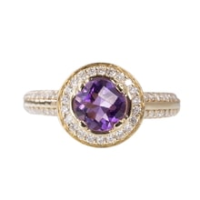 ENGAGEMENT RING WITH AMETHYST AND DIAMONDS - HALO ENGAGEMENT RINGS - ENGAGEMENT RINGS