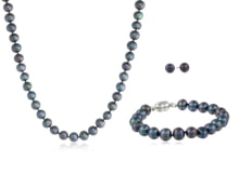 PEARL SET WITH BLACK FRESHWATER PEARLS - PEARL SETS - PEARLS